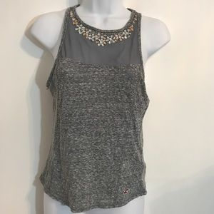 Gray Bejeweled tank by Hollister. size Small